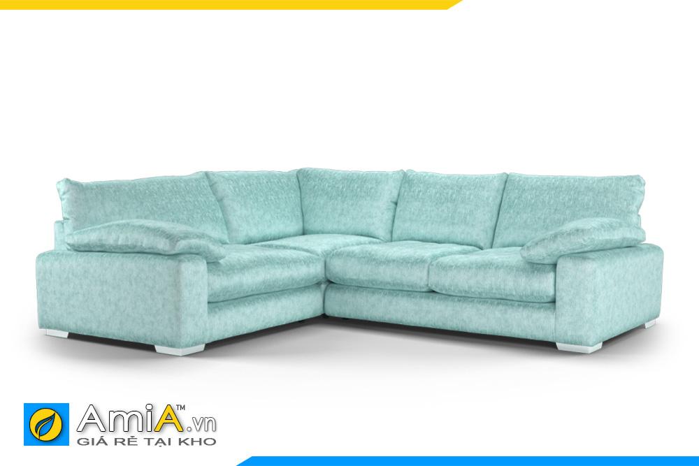 sofa dáng thấp bọc nỉ màu xanh