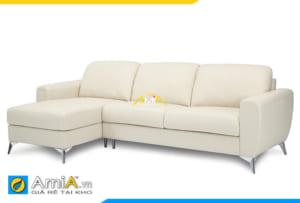 ghế sofa da đẹp màu trắng kem
