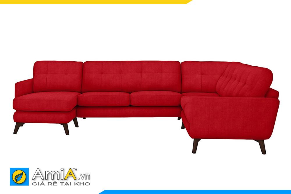 ghế sofa màu đỏ kiểu góc chữ U