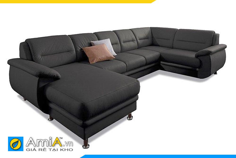 sofa phòng khách rộng màu đen