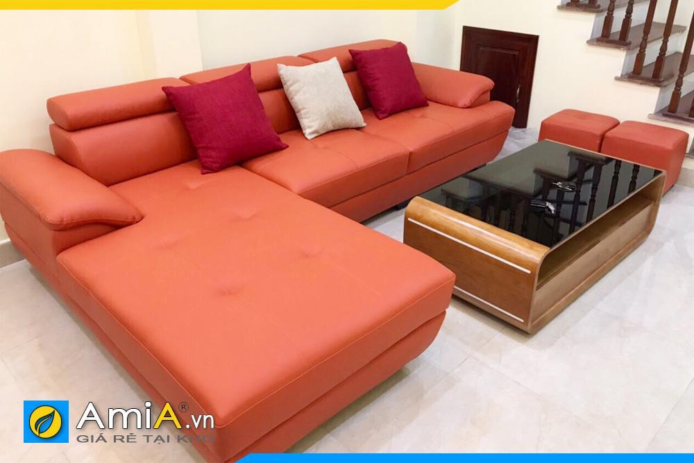 ghế sofa phòng khách bọc da màu cam