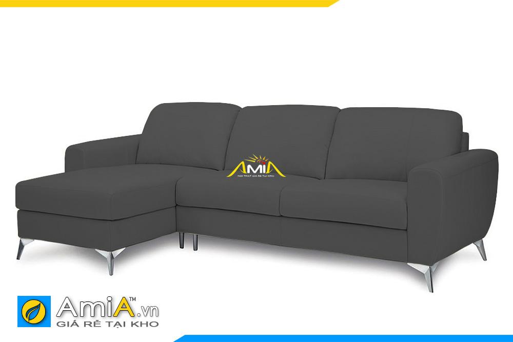 ghế sofa góc bọc da màu ghi