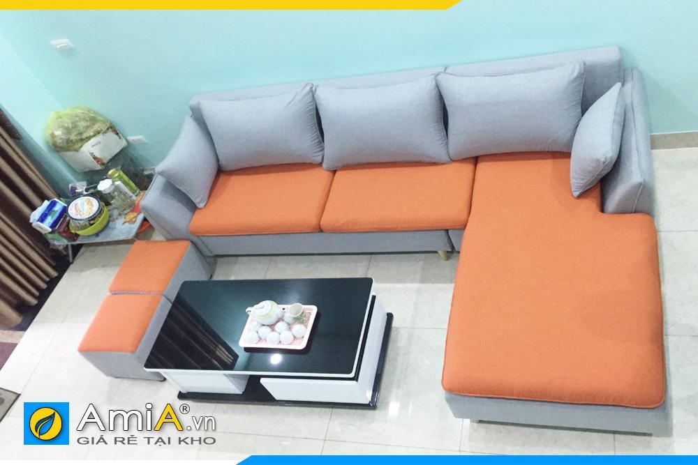 sofa nỉ đẹp phối 2 màu