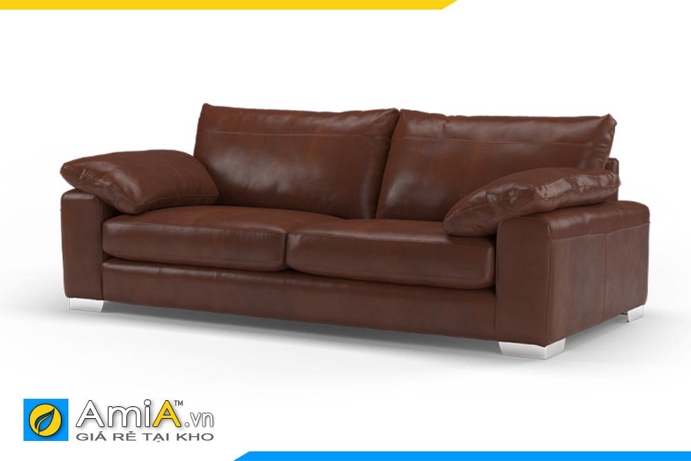 ghế sofa da 2 chỗ màu nâu AmiA 20035