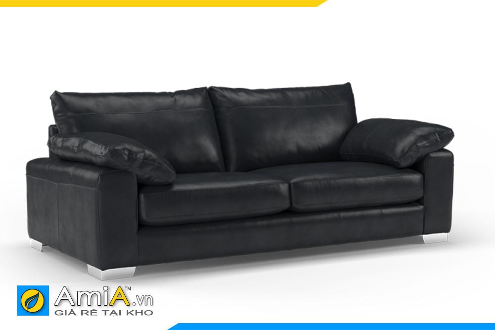ghế sofa văng 2 chỗ bọc da màu đen