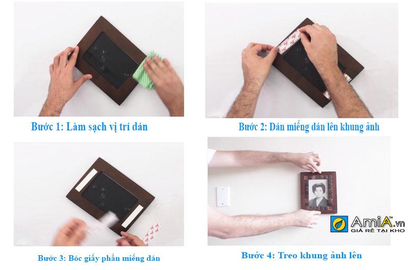 dùng miếng dán để treo khung ảnh lên tường không cần khoan