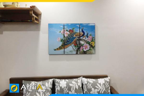 Mẫu tranh chim công hoa mẫu đơn AmiA 1606B treo tường phòng khách nhỏ