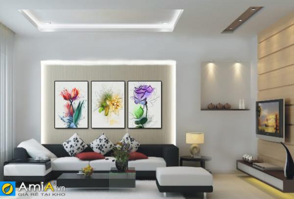 Tranh bộ canvas hoa treo tường phòng khách hiện đại AmiA 1499
