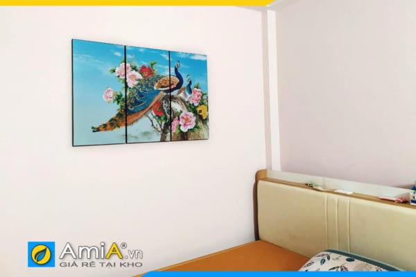 Tranh chim công hoa mẫu đơn theo yêu cầu treo tường phòng ngủ AmiA 1606B
