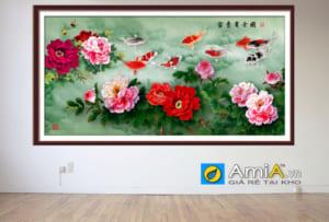Treo tranh hoa mẫu đơn khổ lớn khung bản to lên tường thạch cao