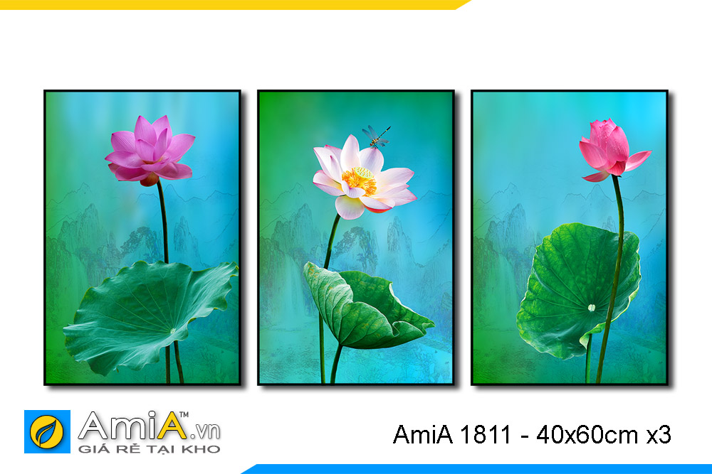 tranh canvas hoa sen đẹp 3 tấm