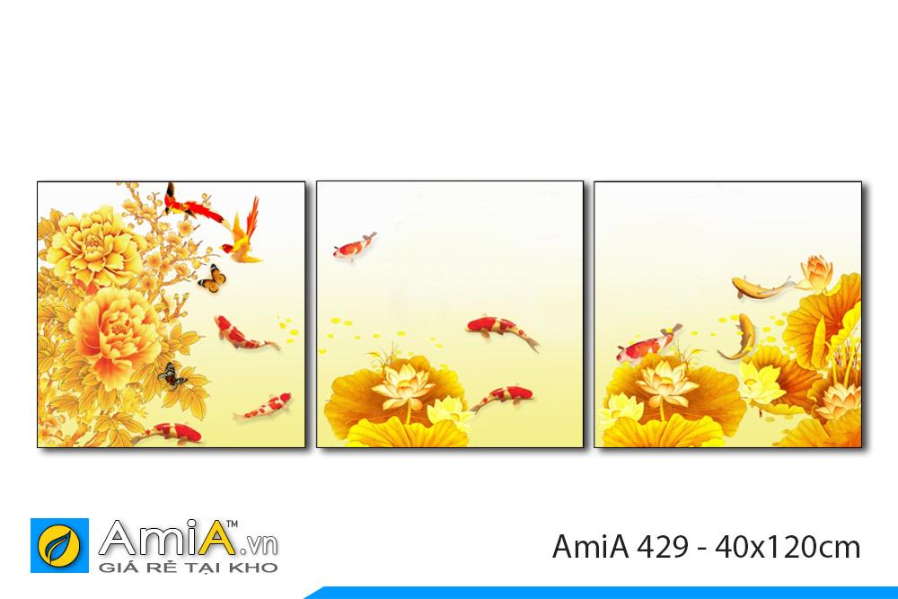 tranh cá chép hoa sen và hoa mẫu đơn