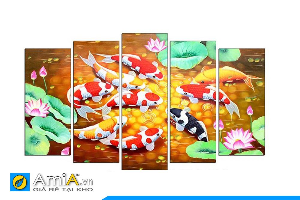 Bộ tranh cá chép hoa sen ghép