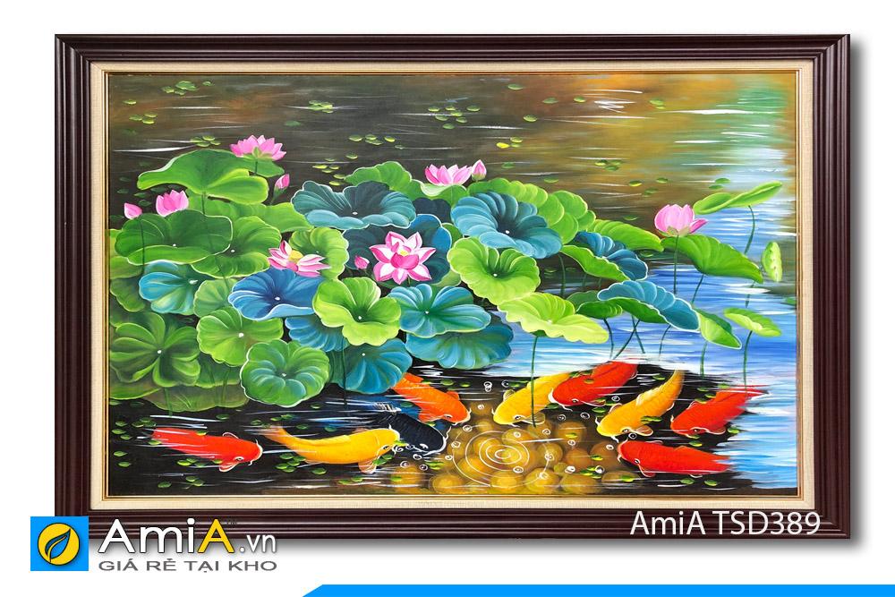 Bức tranh sơn dầu đẹp cá chép hoa sen