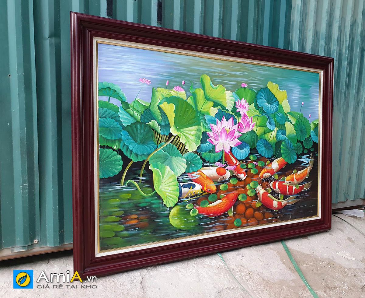 Hình ảnh Bức tranh cá chép hoa sen vẽ sơn dầu 1 tấm đẹp mã TSD 216