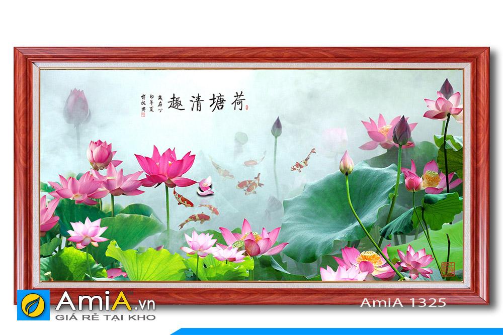tranh cá chép hoa sen treo phòng khách