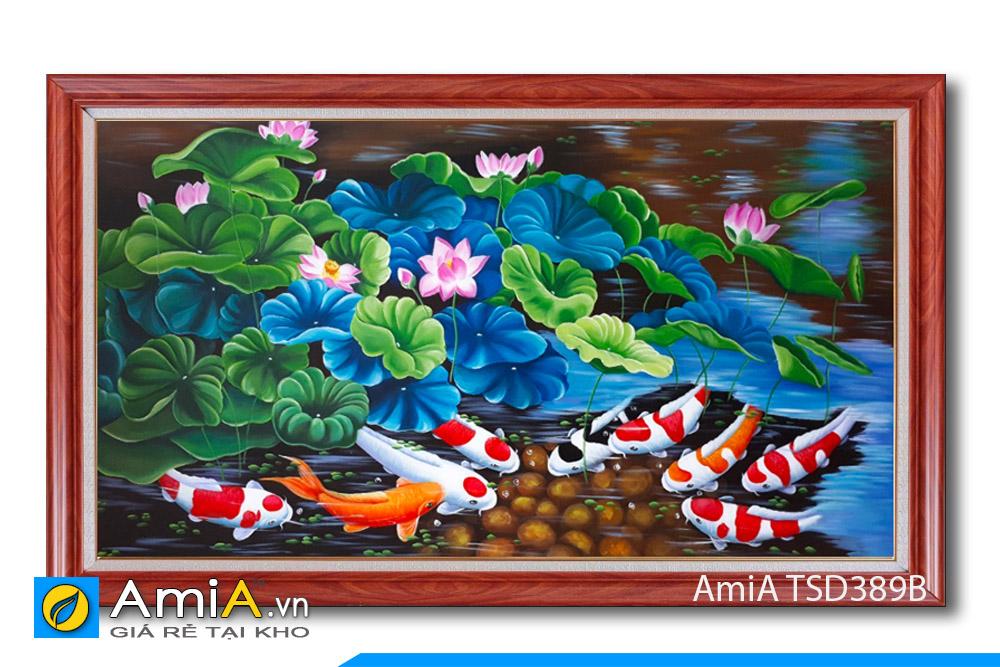 tranh sơn dầu đẹp cá chép