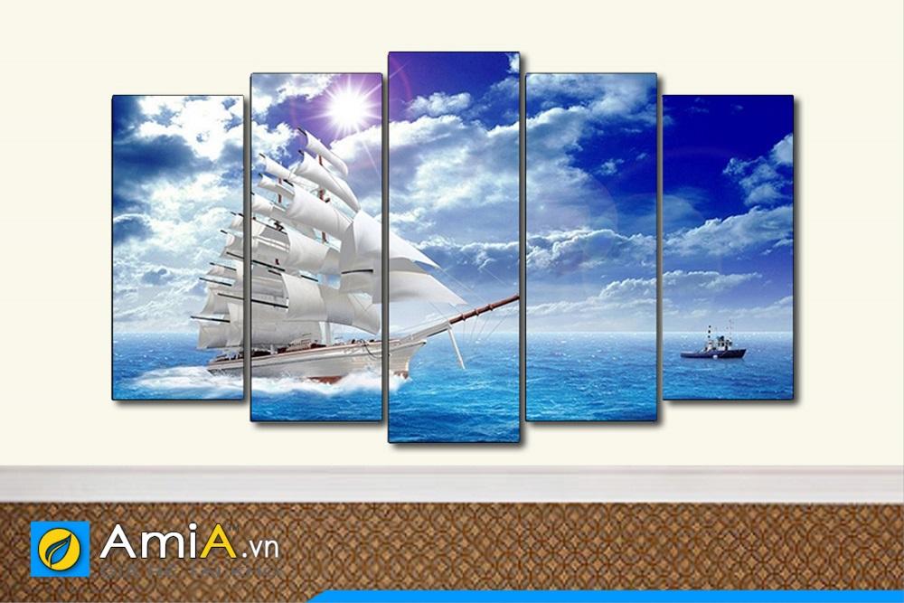 bộ tranh ghép nhiều tấm thuyền buồm