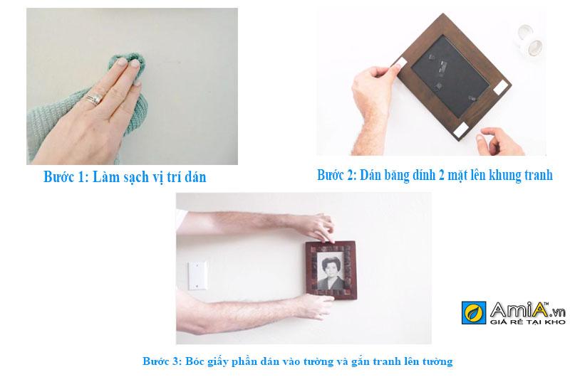 cách dùng băng dính 2 mặt để treo khung ảnh lên tường