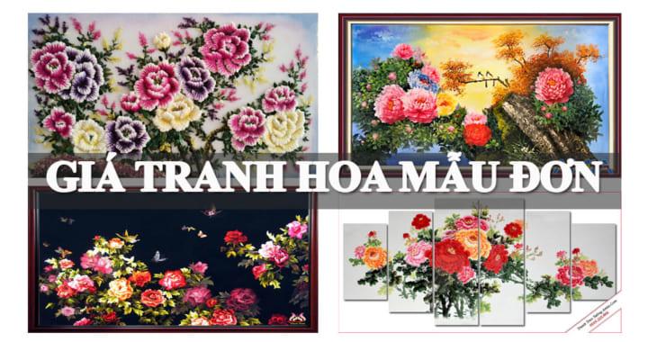 Giá tranh hoa mẫu đơn treo tường