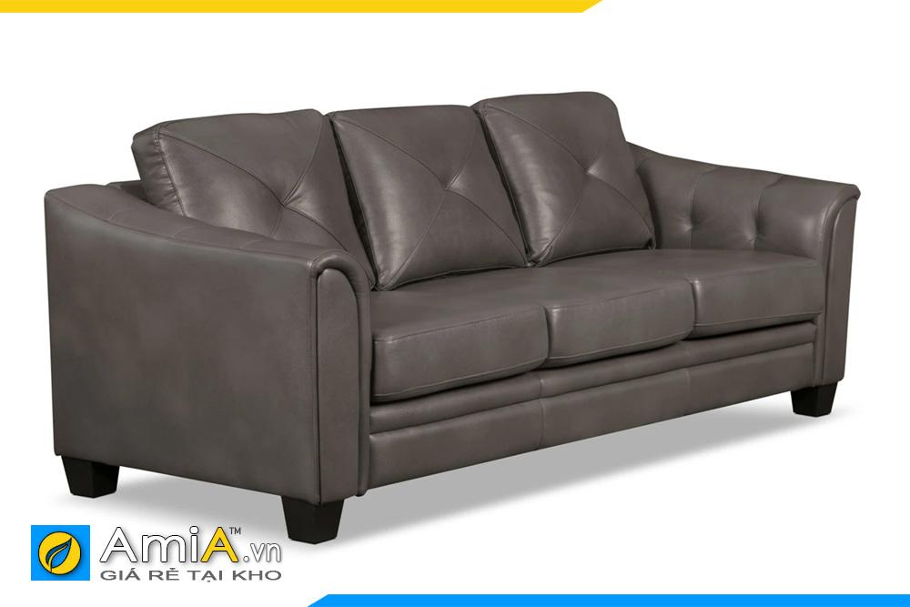 ghế sofa da màu nâu dạng văng nhỏ