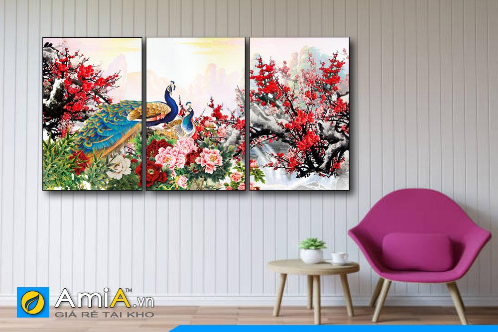 tranh đôi chim công và hoa đào