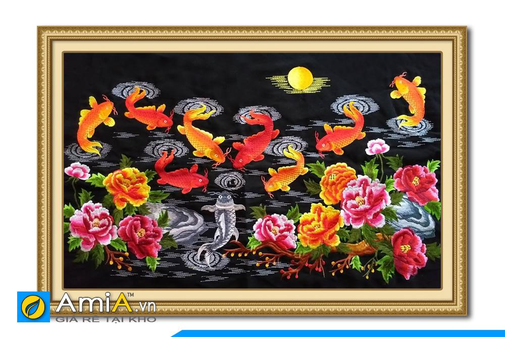 tranh thêu cá chép hoa mẫu đơn
