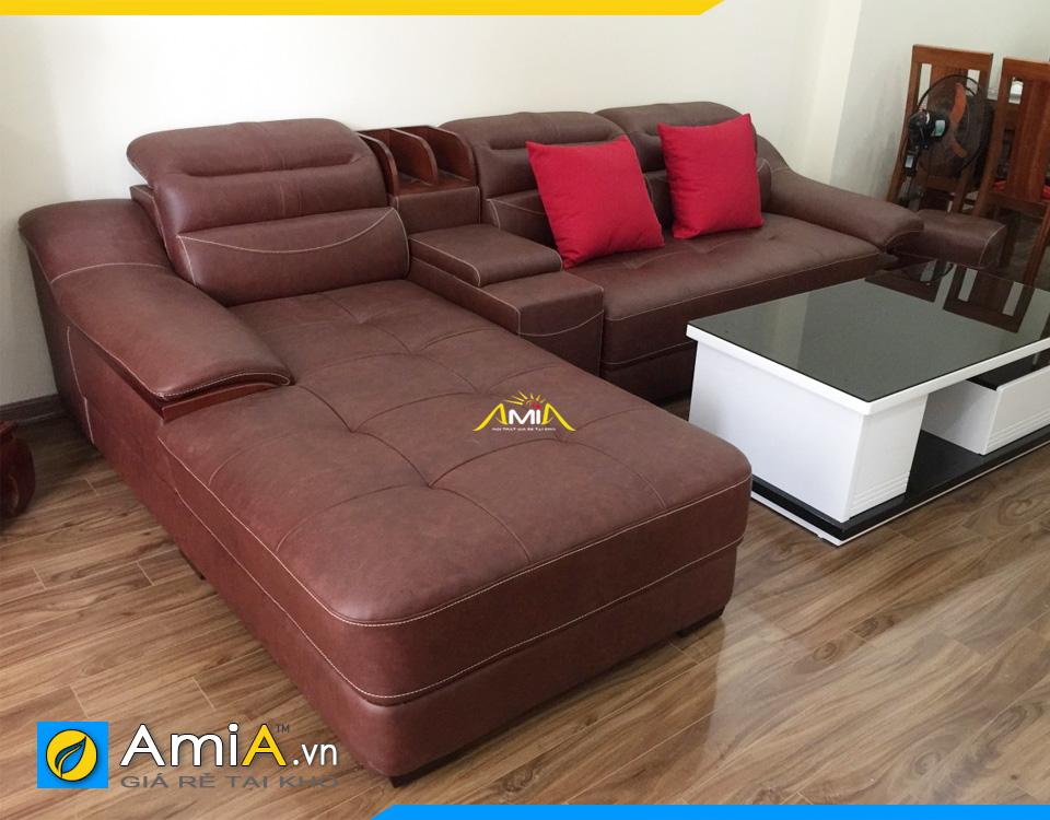 Sofa đẹp kiểu góc L có học và tay phụ ở giữa