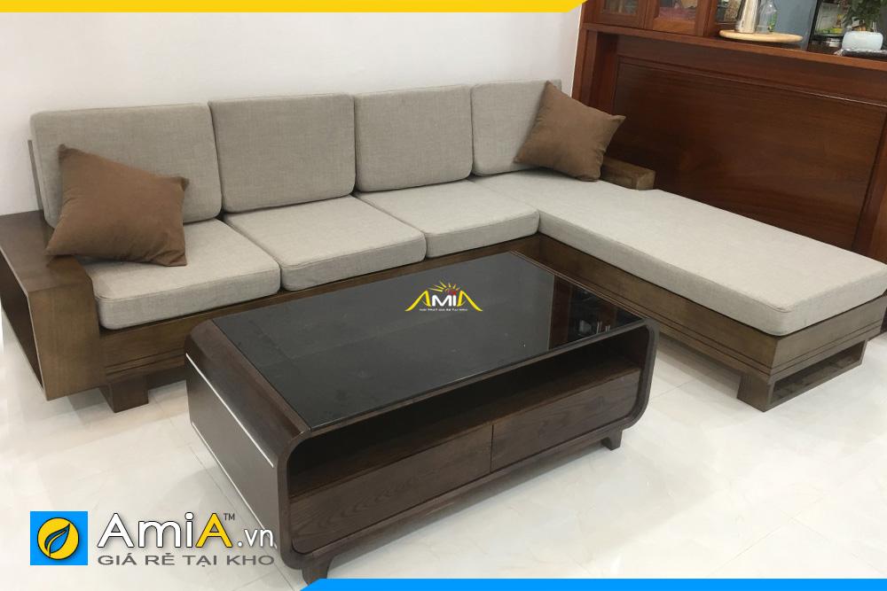 Sofa gỗ tự nhiên đẹp rẻ kiểu góc