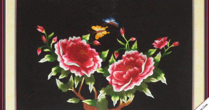 Tranh hoa mẫu đơn cầu duyên 2 bông
