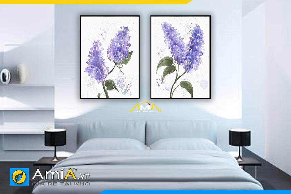 tranh treo phòng ngủ đẹp hoa tím