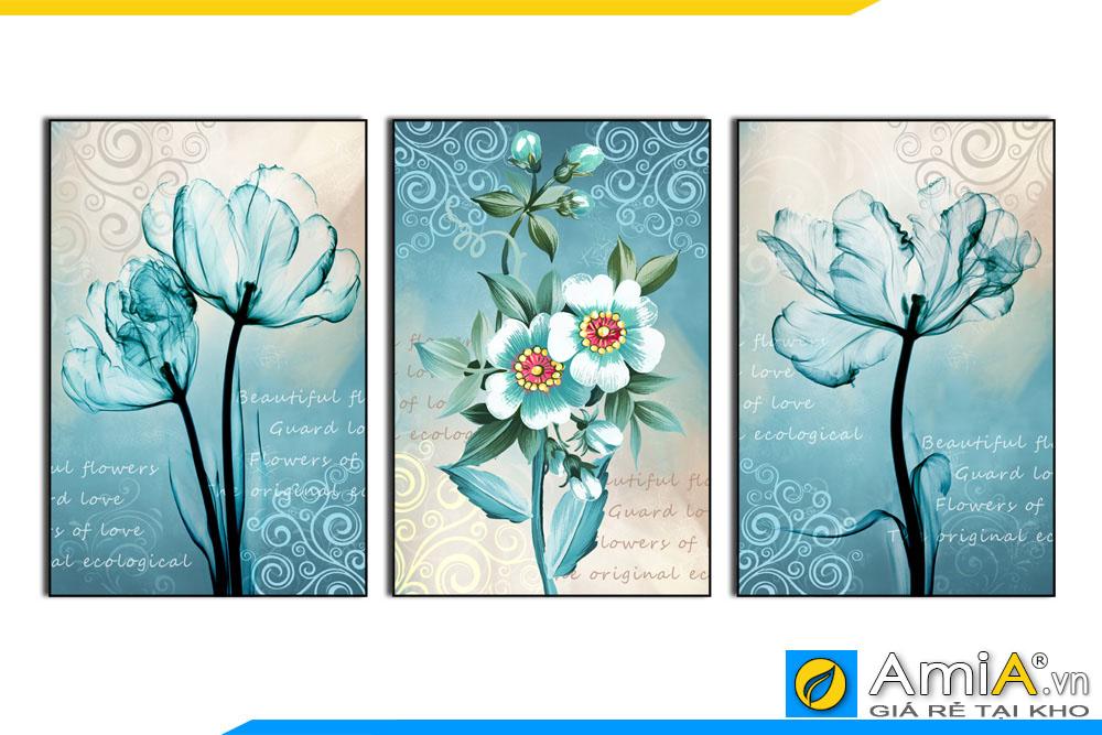 Tranh bộ canvas hoa màu xanh đẹp mới mẻ treo tường phòng khách