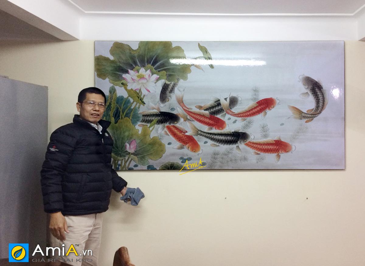 Hình ảnh Tranh cá chép hoa sen 1 tấm treo tường đẹp ý nghĩa mã 368
