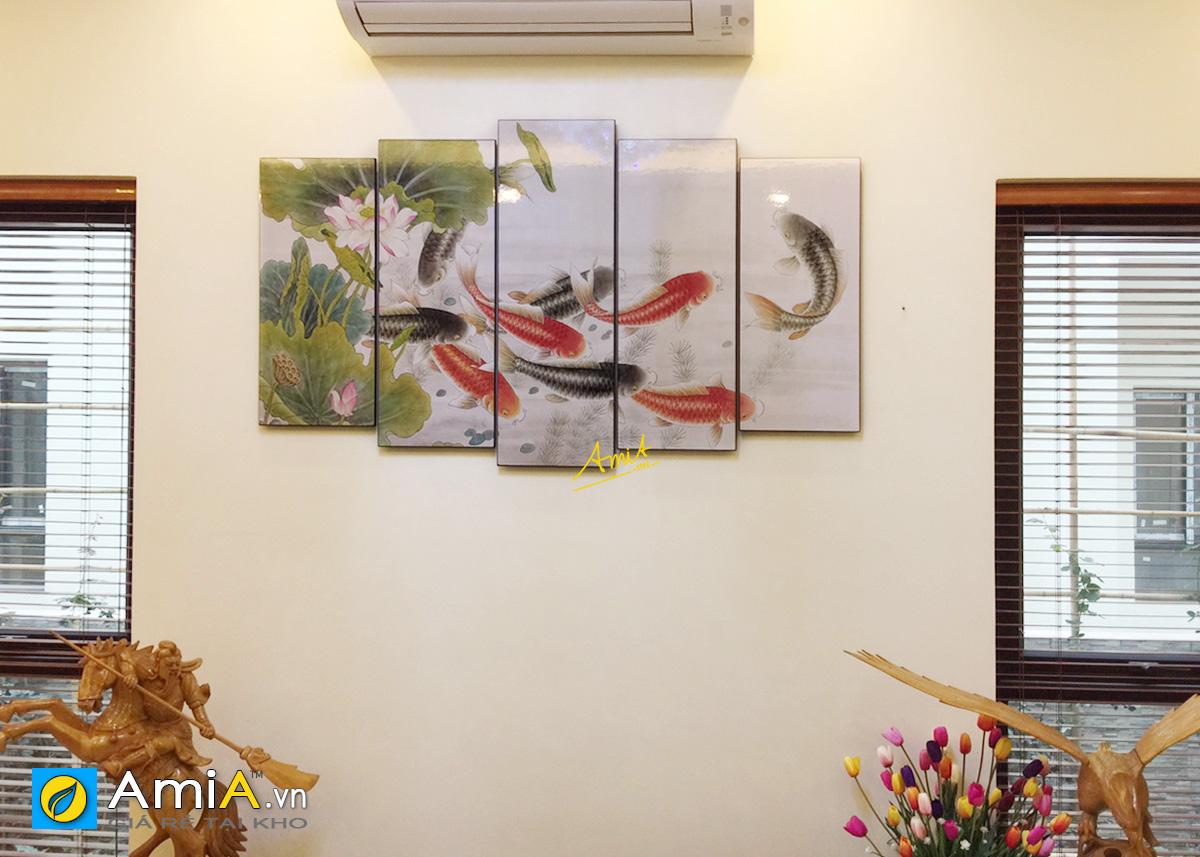 Hình ảnh Tranh cá chép hoa sen ghép bộ 5 tấm treo tường đẹp mã 368