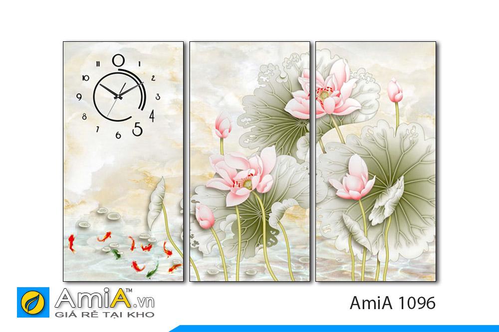 bộ tranh cá chép hoa sen 3 tấm