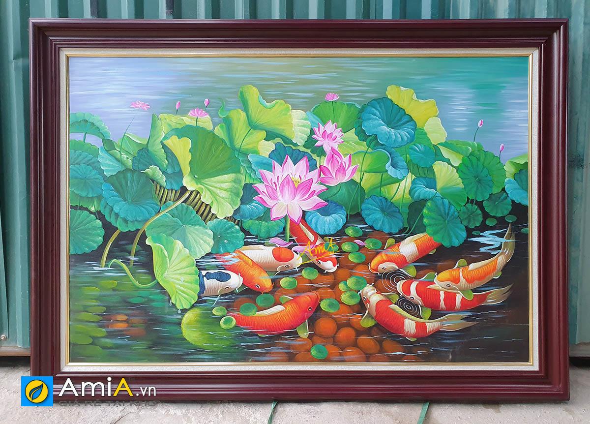 Hình ảnh Tranh cá chép hoa sen vẽ sơn dầu đẹp tuyệt vời mã TSD 216