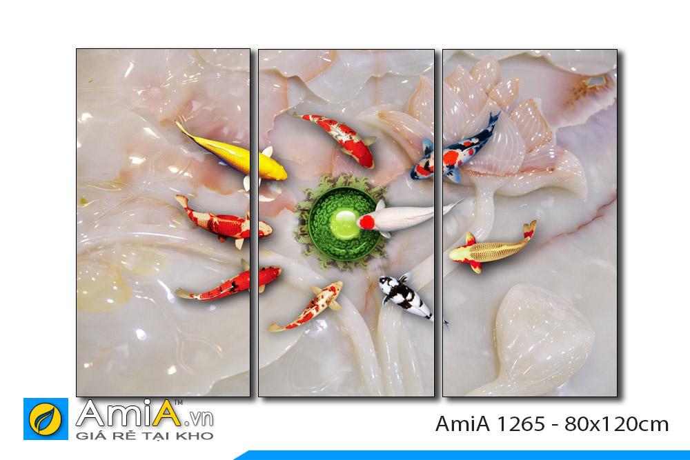 tranh ghép bộ cá chép 9 con