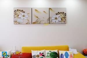 Hình ảnh Tranh cá chép treo tường phòng khách đẹp mã PT112