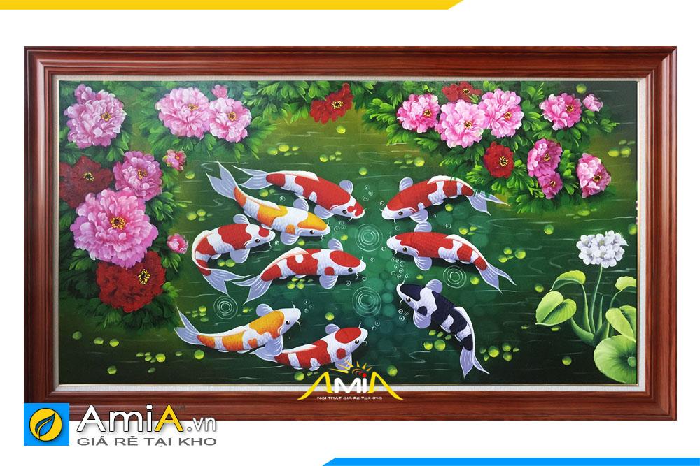 Bức tranh cá chép và hoa mẫu đơn