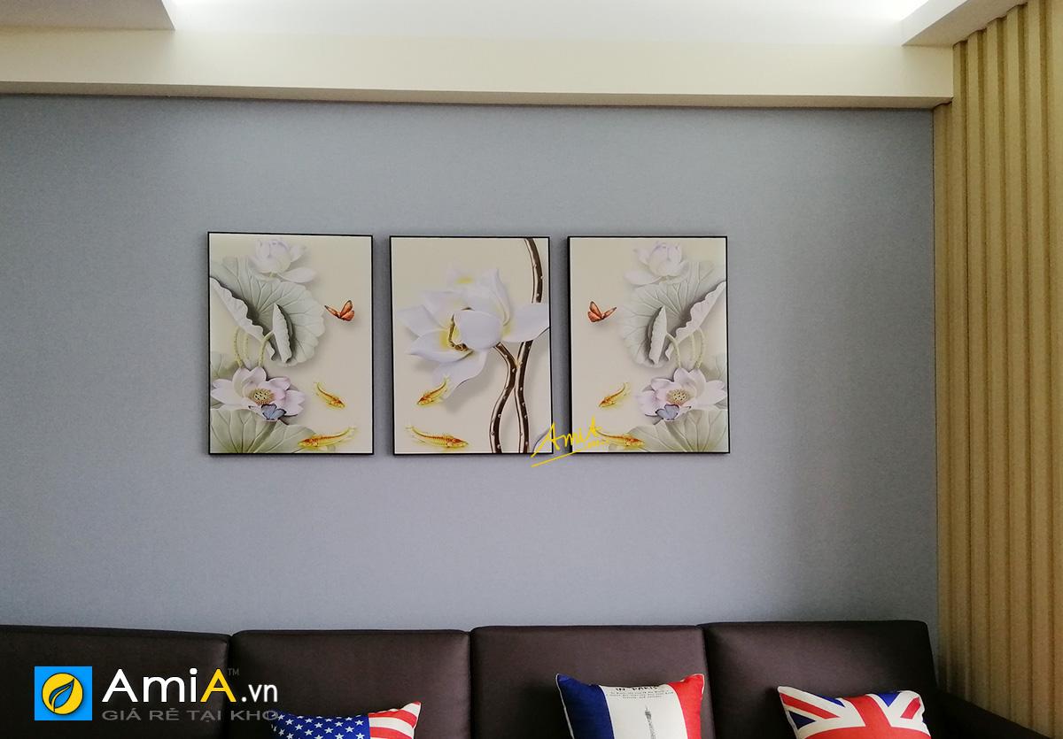 Hình ảnh Tranh canvas cá chép hoa sen treo tường đẹp ý nghĩa mã 1726