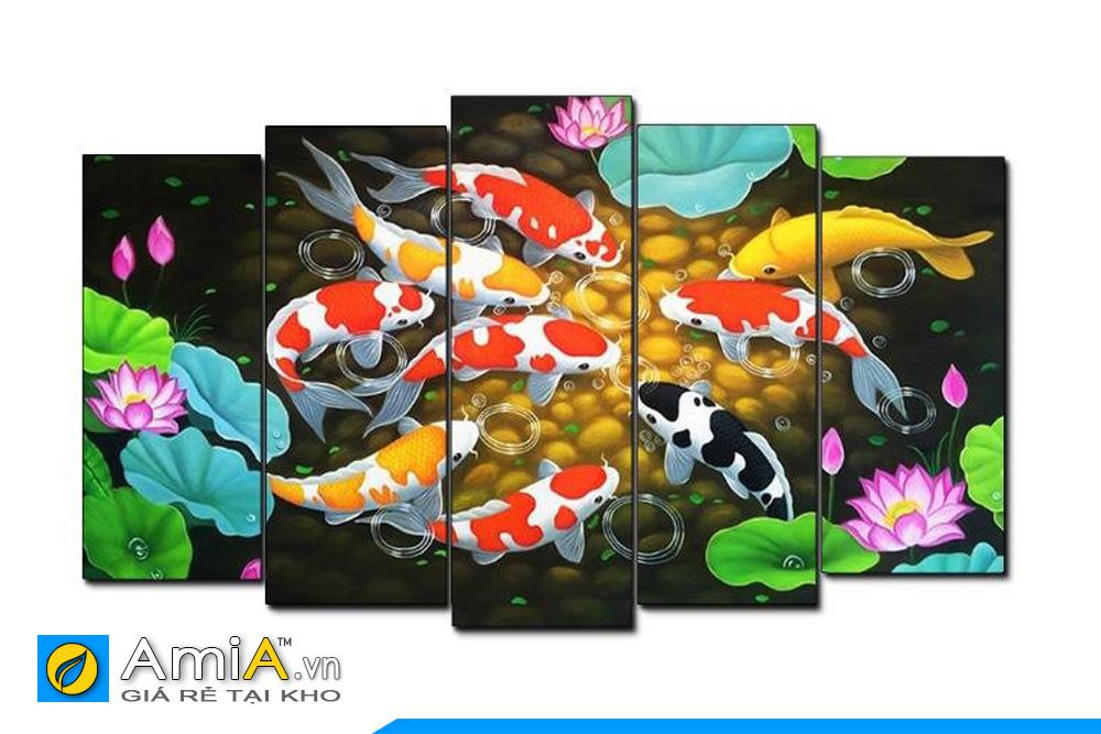 tranh cá chép hoa sen cửu ngư