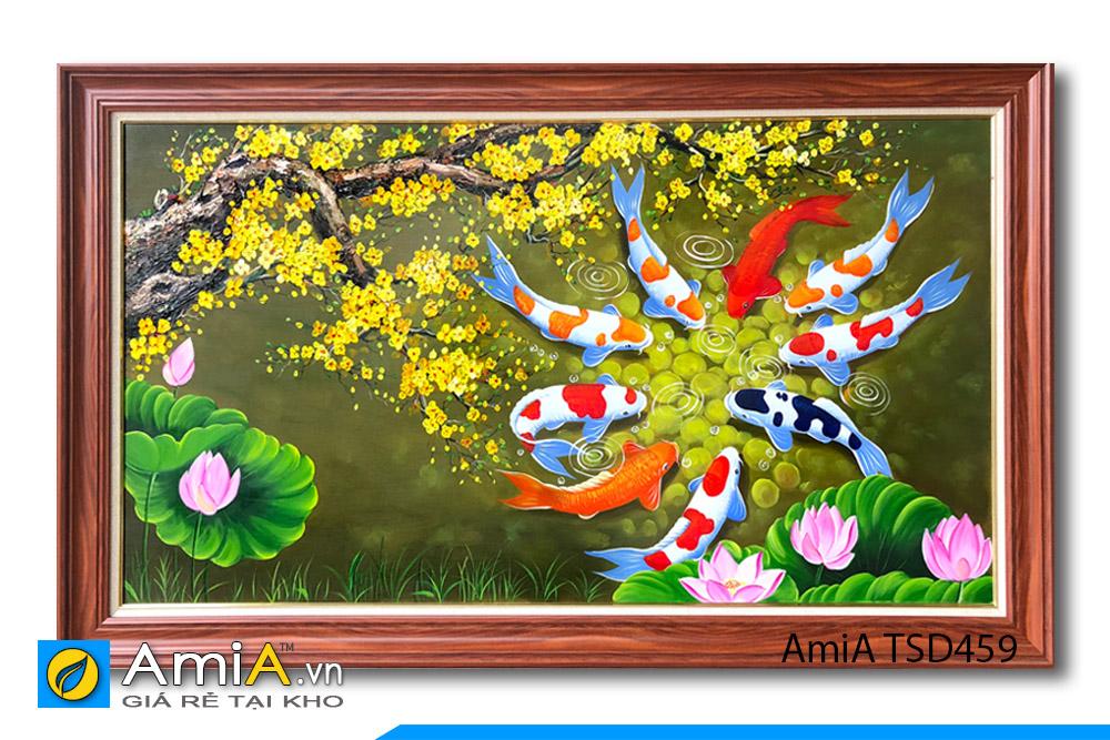 tranh vẽ cành hoa mai với cá chép