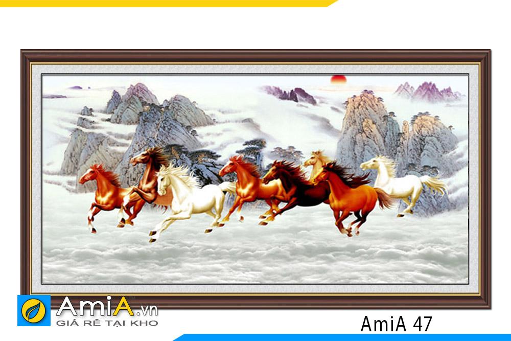 tranh đẹp 8 con ngựa phi nước đại