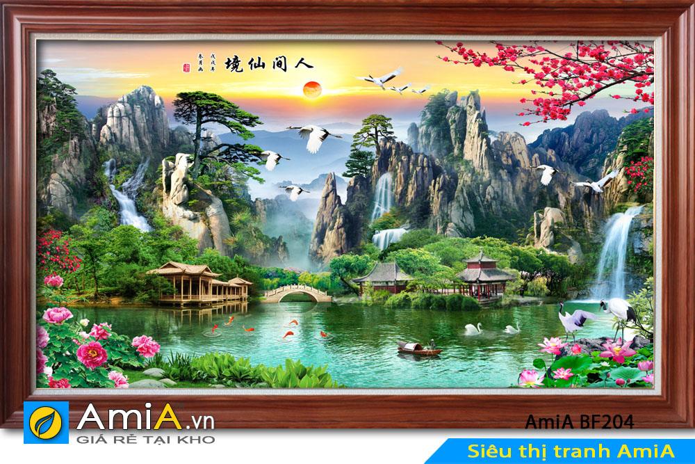 tranh đẹp ngôi nhà nhỏ giữa núi non