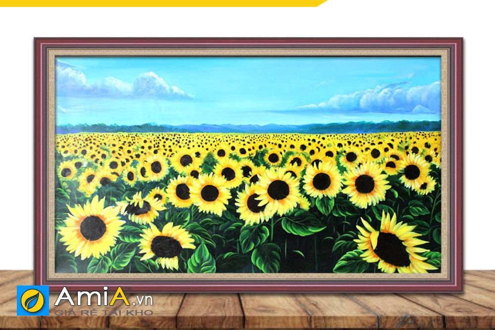 tranh sơn dẫu vẽ cánh đồng hoa hướng dương