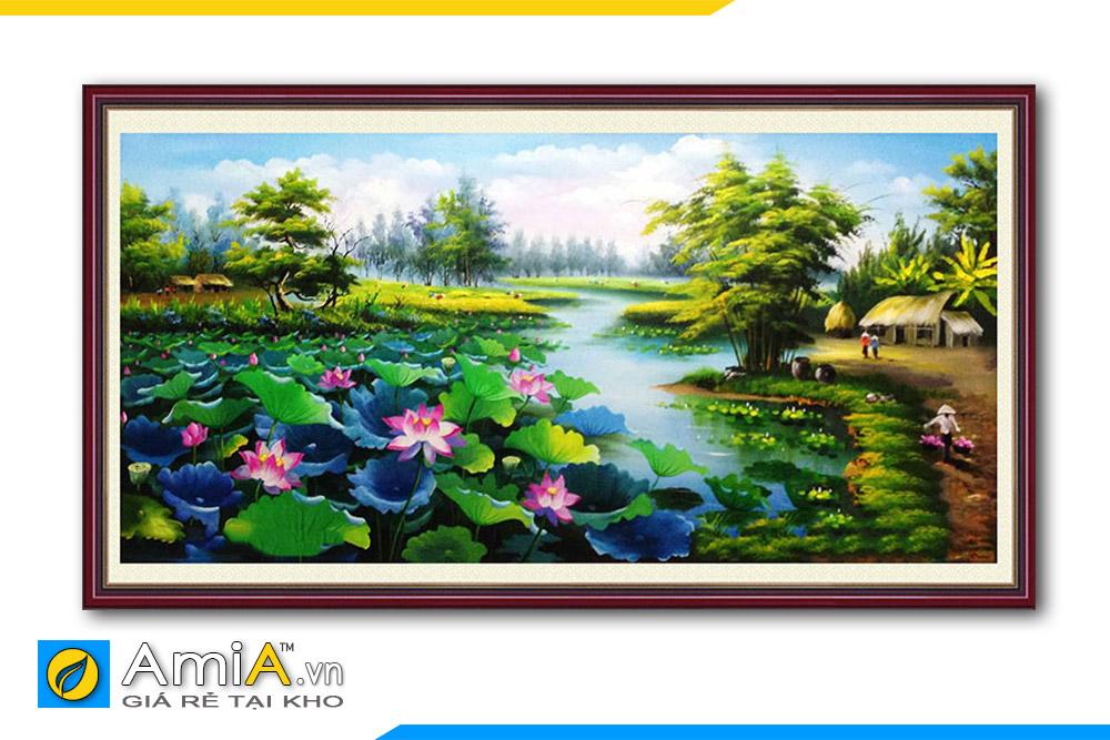tranh phong cảnh làng quê hoa sen