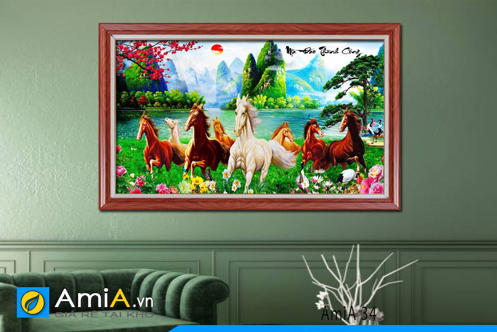 tranh ngựa đẹp có phong cảnh thiên nhiên
