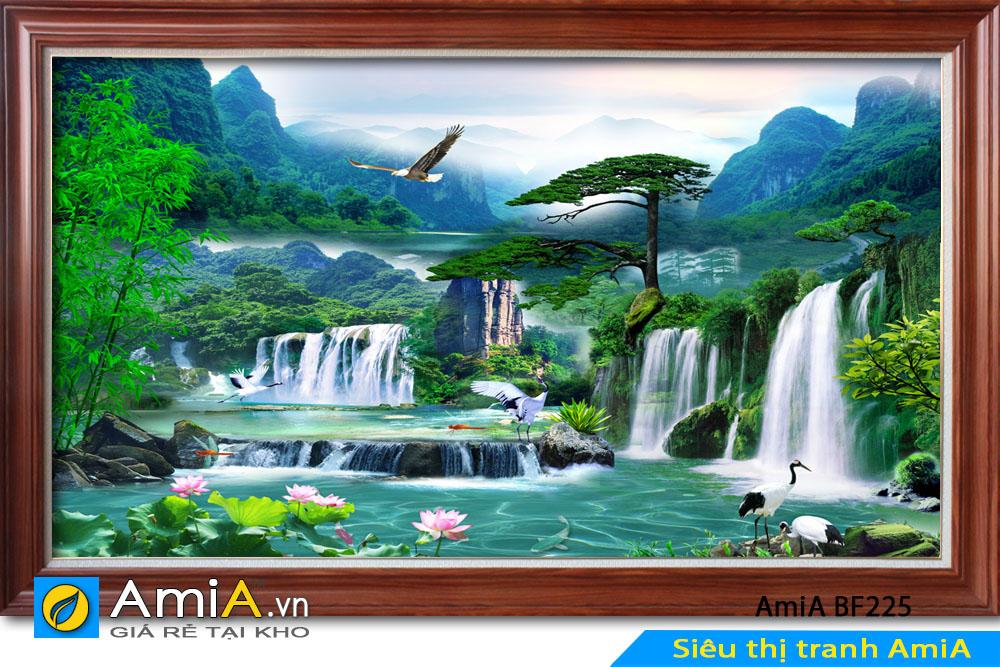 Tranh đại bàng bay giữa phong cảnh thiên nhiên