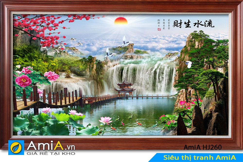 Tranh sơn thủy đẹp có hình ảnh cây cầu
