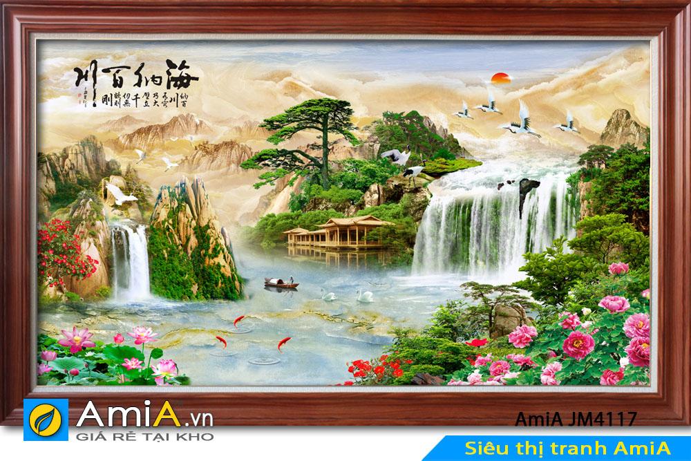 Mẫu tranh thiên nhiên có phong cảnh sinh động
